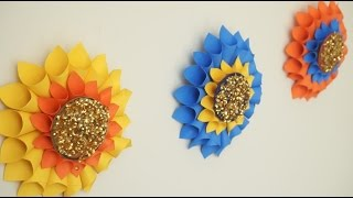 Giant Flowers Wall Hanging From Bangles And Paper