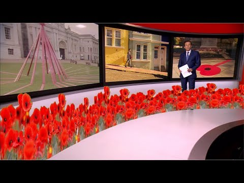 Poppy Appeal on 100th anniversary of end of WWI (UK) - BBC News - 25th October 2018