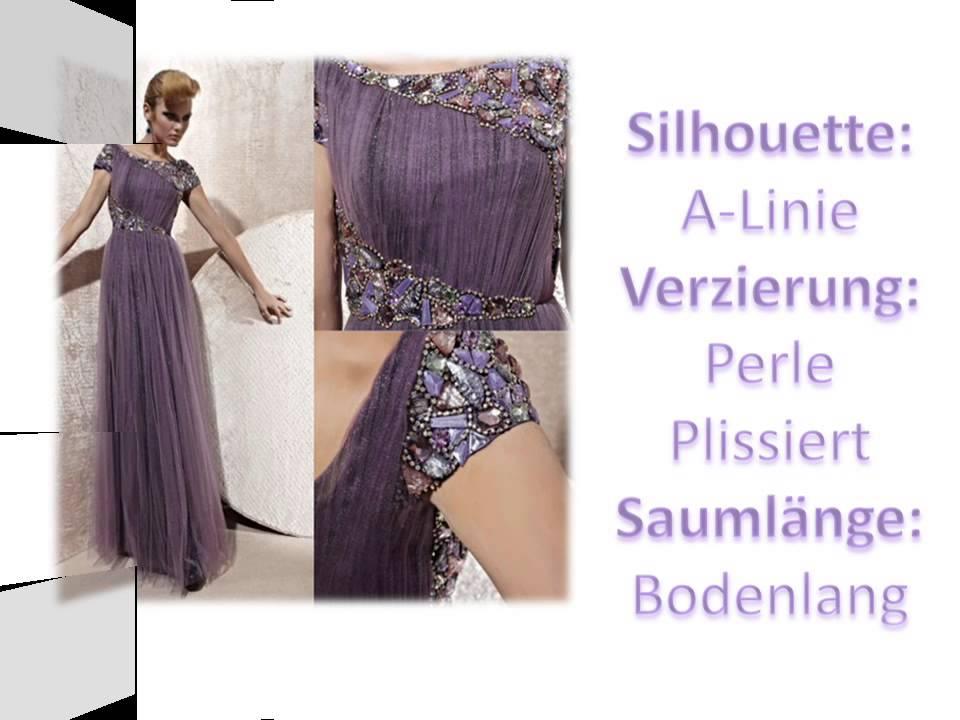A Linie Boot Ausschnitt Perlen verziertes Abendkleider - YouTube