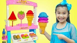 Hana Pretend Play Selling Pancake & Fruit ICE CREAM Toys w/ Icecream Cart