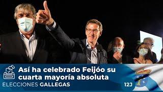Fiesta en la sede del PP en Galicia: así ha celebrado Feijóo su mayoría absoluta
