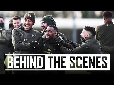 Suarez, Lacazette & Monreal shooting practice | Behind the scenes at Arsenal training