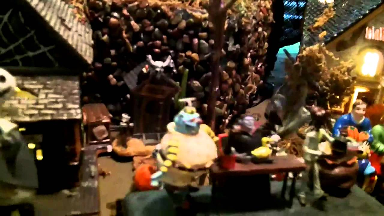 dept 56 Halloween town with nightmare before Christmas train - YouTube