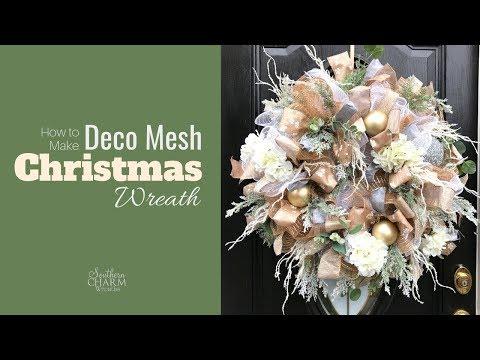 How To Elegant Deco Mesh Christmas Wreath For Front Door