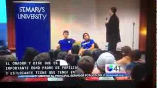 "Univision (Channel 41) in San Antonio covers ""Can I Kiss You?"" program at St. Mary's University"