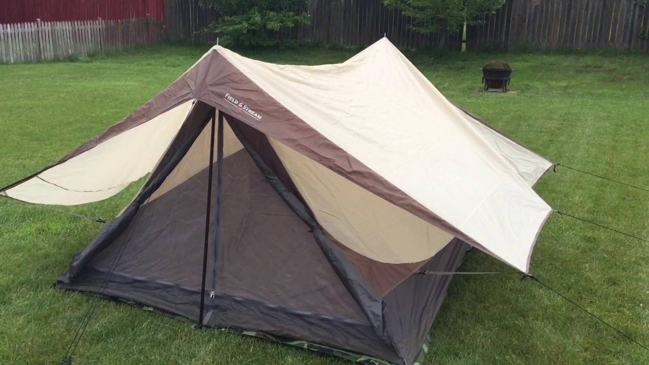Field u0026 Stream Field Scout 9X7 4 Person Tent & Field u0026 Stream Field Scout 9X7 4 Person Tent - YouTube