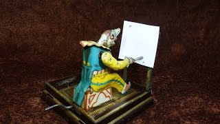 1885 Vielmetter The Drawing Clown Artist Vintage Tin Toy Germany