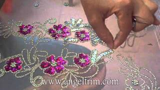 Repeat youtube video How to make sequins beaded  flower applique motif Handmade craft