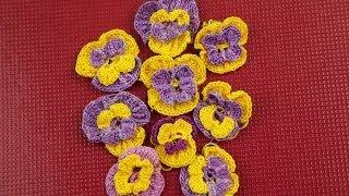 Вязание крючком. Цветы анютины глазки(В этом цикле видео я показываю как связать крючком цветы. Начнем с анютиных глазок. Следующие видео цикла:..., 2014-03-07T18:21:59.000Z)