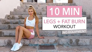10 MIN LEGS + FĄT BURN - tone your thighs, booty & burn calories - No Equipment I Pamela Reif