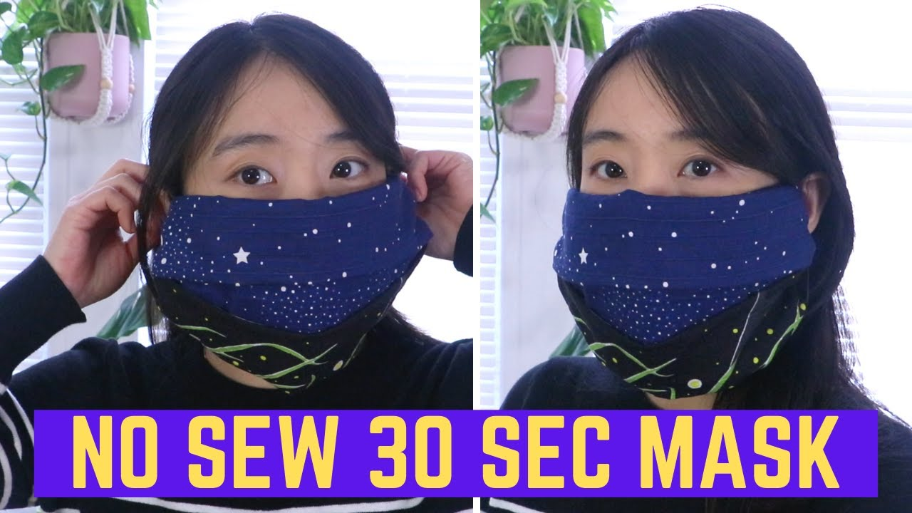 No Sewing Fabric Face Mask Diy Takes 30 Secs For Kids Adults Washable Re Usable Youtube