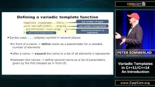 "CppCon 2015: Peter Sommerlad ""Variadic Templates in C++11 / C++14 - An Introduction"""