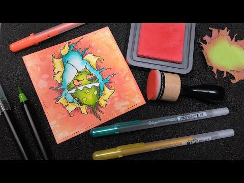LEARN Masking & MAKE Cute Monster Birthday Cards!