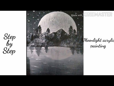 -Moonlight acrylic painting | black and white acrylic painting