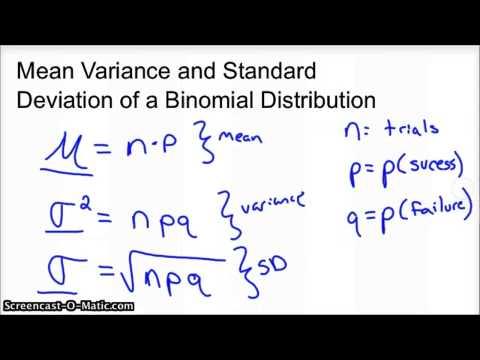 Binomial Distribution Mean Variance Standard Deviation