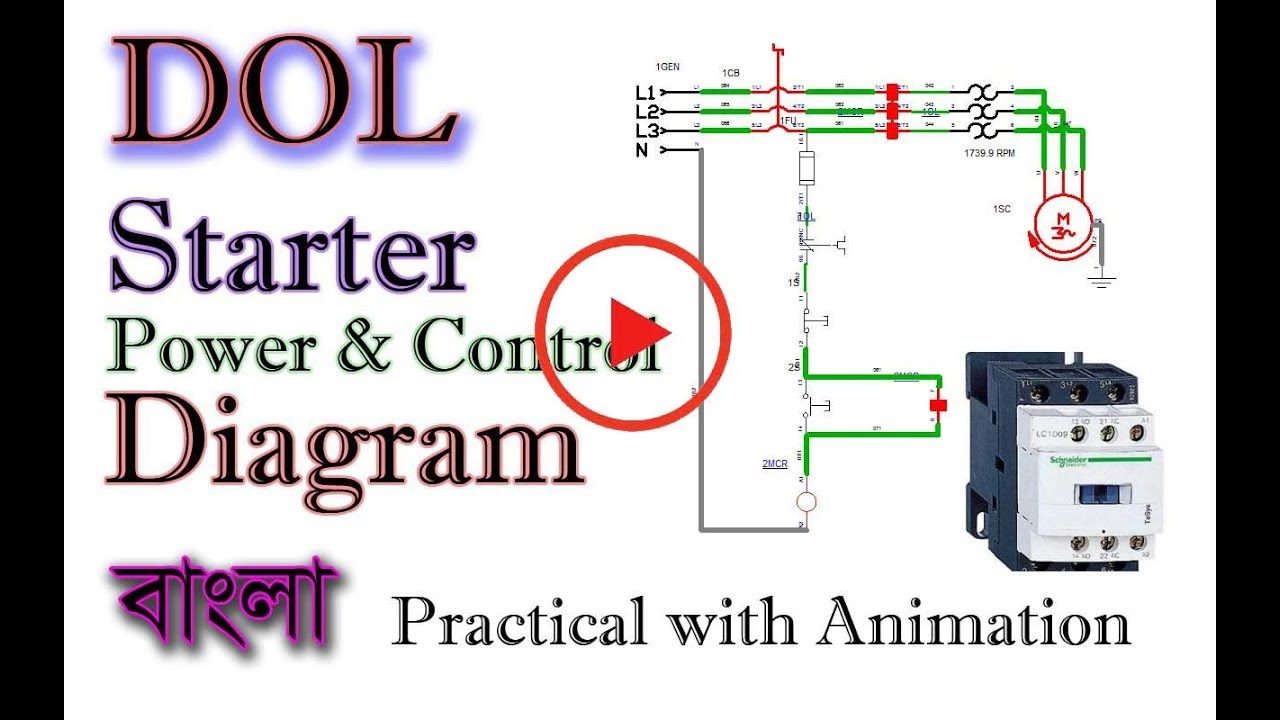DOL Starter Power and Control Diagram   Direct On Line ...