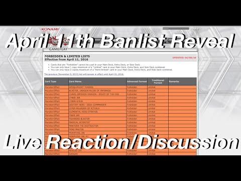 Yu-Gi-Oh! April 11th, 2016 TCG Live Banlist Reveal & Reaction! (#RIPDracoPals)