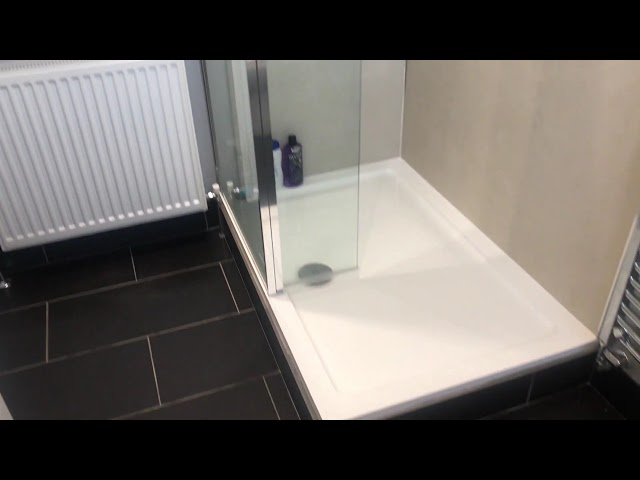 Bathroom with walk in shower & shower wall boards