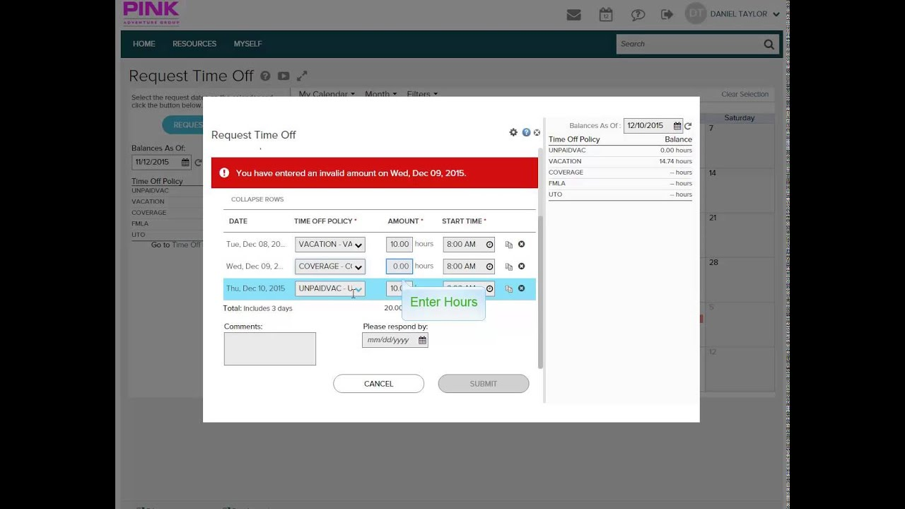 ADP Requesting Time Off Demo - YouTube