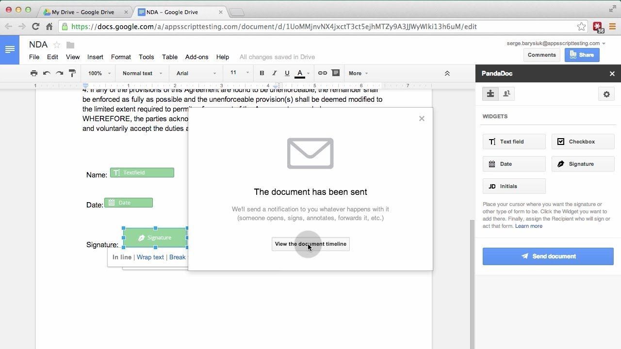 Google Doc with electronic signature - YouTube