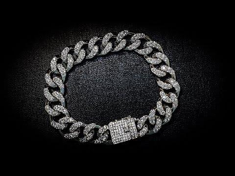 Кубинский или Панцирный браслет с камнями #MatsonJewellery