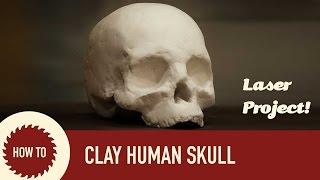 Laser Cut Cardboard and Clay Human Skull: Full Spectrum & 123D Make