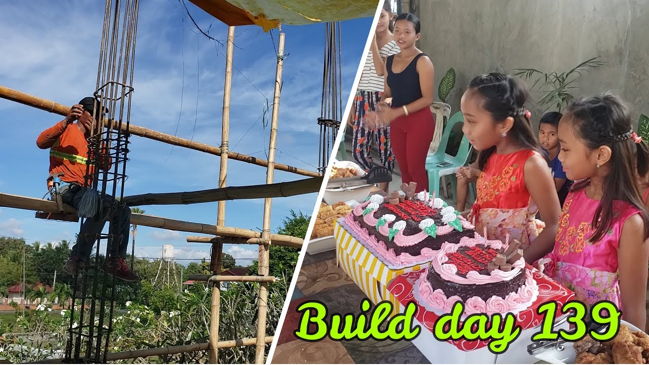 Philippines Beach House Build Day 139 : Columns going UP/Party going DOWN!  DEEP FRIED SANDWICHES?