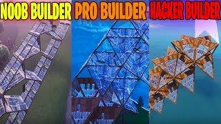 NOOB BUILDER VS PRO BUILDER VS HACKER BUILDER in FORTNITE BATTLE ROYALE