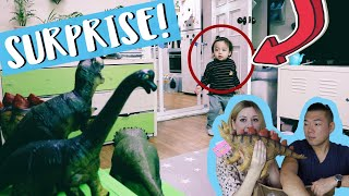 Surprising our son with HUGE dinosaur toys! Unboxing dinosaur toys.