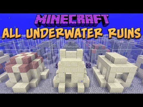 Minecraft 1.13 All 48 Underwater Ruins (Update Aquatic) Snapshot 18w09a