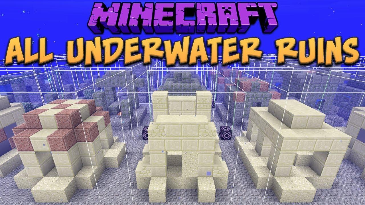 Minecraft 8.83 All 8 Underwater Ruins (Update Aquatic) Snapshot 88w8a