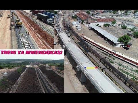 VIDEO ULIPOFIKIA UJENZI WA RELI YA KISASA TRENI YA MWENDOKASI TANZANIA STANDARD GAUGE RAILWAY