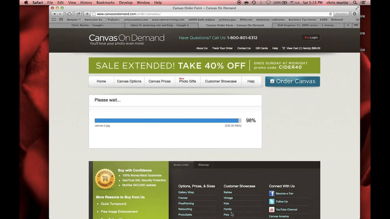 ordering canvases from canvas on demand from a groupon youtube