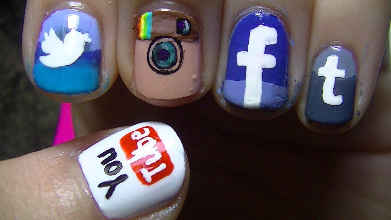 Social Network App Nail Art - YouTube