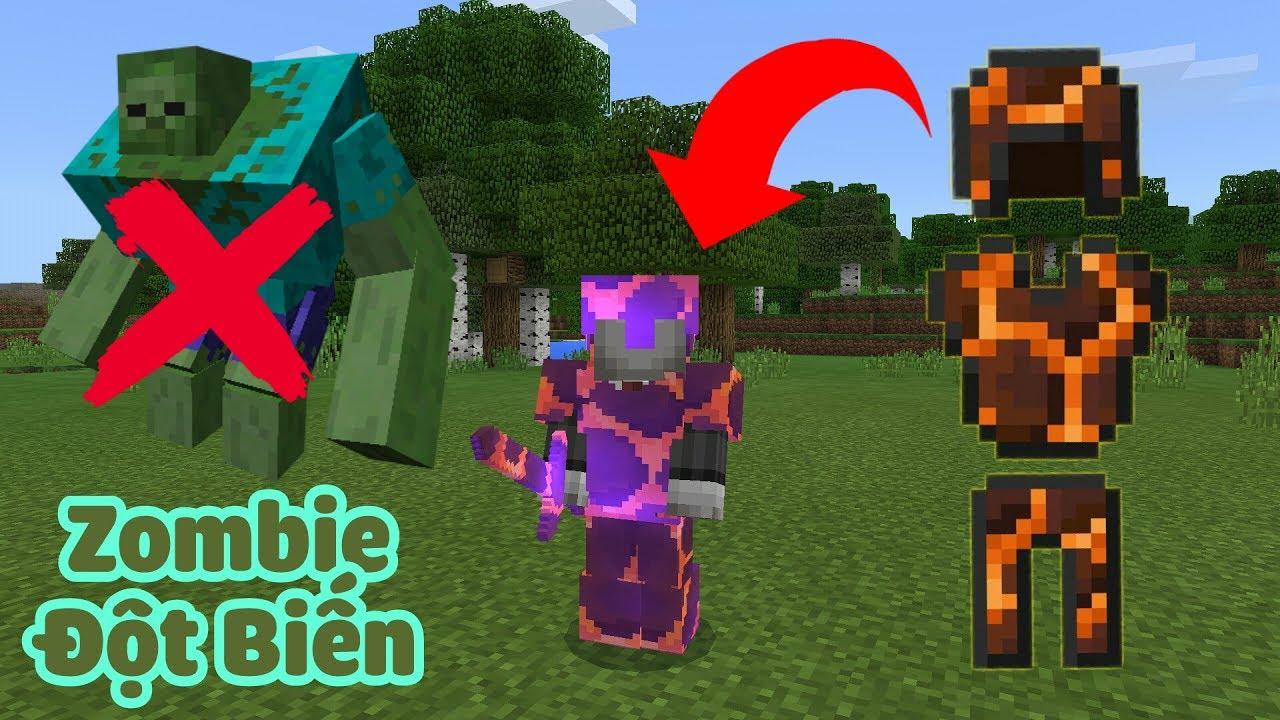 HƯỚNG DẪN CHẾ TẠO SIÊU GIÁP MAGMA CỰC MẠNH TIÊU DIỆT ZOMBIE KHỔNG LỒ TRONG MCPE | Minecraft PE 1.1.4