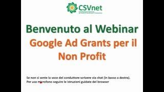 Webinar Google Ad Grants per il Non Profit