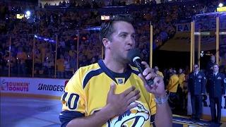 Luke Bryan sings national anthem before Predators & Blackhawks game