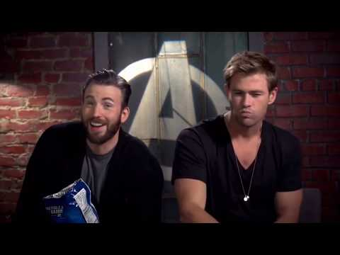 Chris Evans and Chris Hemsworth being iconic for 7 minutes straight
