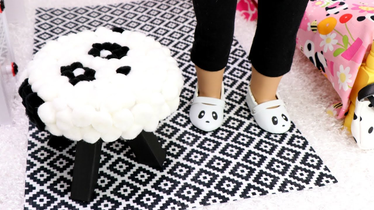 DIY Doll Bedroom Panda Chair & Crafts! Bedroom Ideas For Decorating With Dolls And Bears on