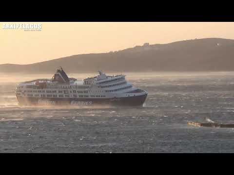 Superferry  (Passenger ship)  arrival to tinos port  (Greece) with strong wind
