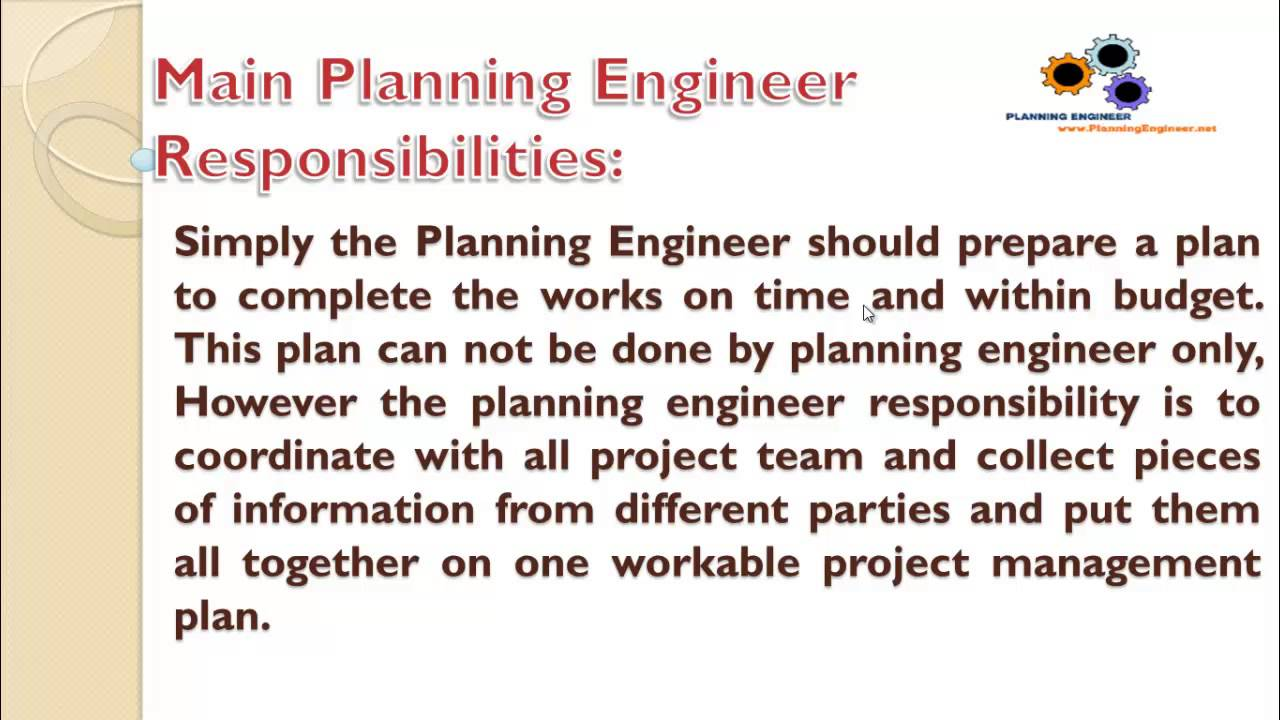 l introduction to planning engineer job role l1 introduction to planning engineer job role