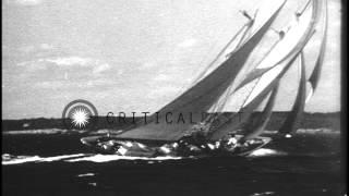 US schooner Gertrude L. Thebaud gets beaten by Canadian schooner Bluenose in a ra...HD Stock Footage