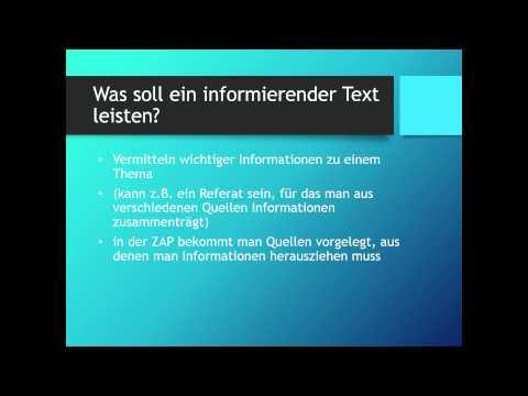 Einen informierenden Text schreiben (ZAP- Thema) | Deutsch