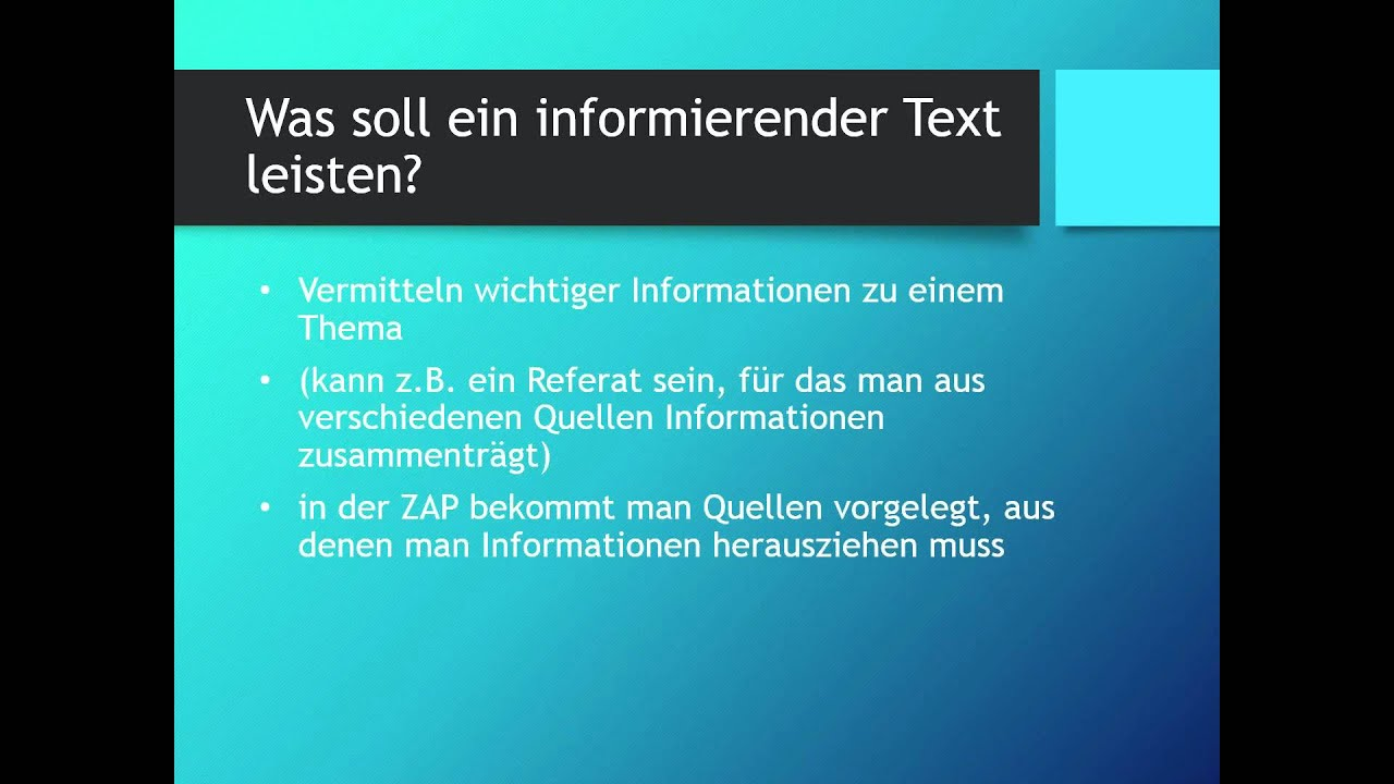Einen Informierenden Text Schreiben Zap Thema Deutsch Youtube
