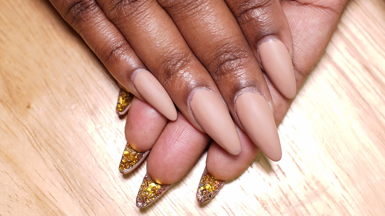 Matte Nude Glitter Bottom Nails | Acrylic Nails - YouTube