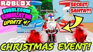 BUBBLE GUM SIMULATOR UPDATE 4 -NEW' CHRISTMAS WORLD, SECRET SANTA (Roblox) TOUS LES NIVEAUX DE VITRINE