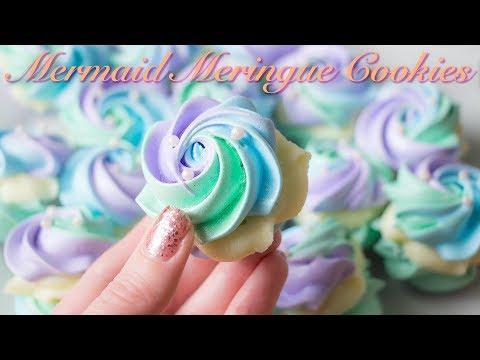 Mermaid Meringue Cookies with White Chocolate Ganache Filling!