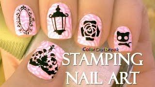 ✿Stamping Nail Art Designs-Mirror, Lantern, Flower Roses, Black Cat and Filigree Plate BP-03 BPS✿