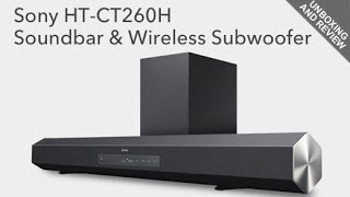 Sony HT CT260H Sound Bar and Wireless Subwoofer Unboxing and Review(Buy: http://amzn.to/1jmkoXp This is the WaysToWatch.com unboxing and review of the Sony HT-CT260H Home Theater Sound Bar with Wireless Subwoofer., 2013-11-21T10:44:41.000Z)