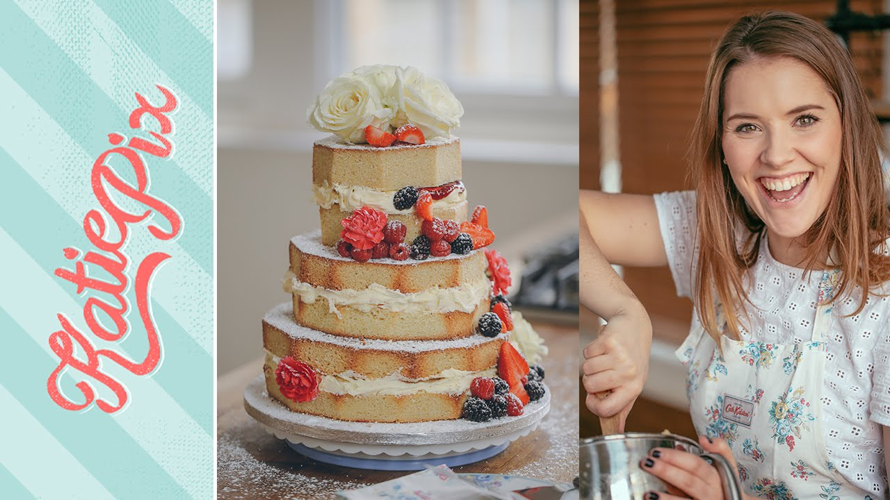Homemade Wedding Cake.3 Tier Homemade Naked Wedding Cake Recipe With Cath Kidston Katie Pix